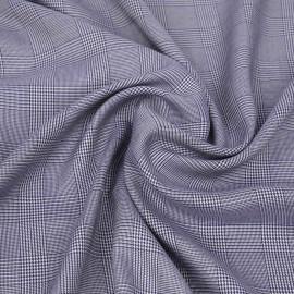 Tissu Tencel blanc à motif tissé prince de Galles bleu marine   pretty mercerie   mercerie en ligne