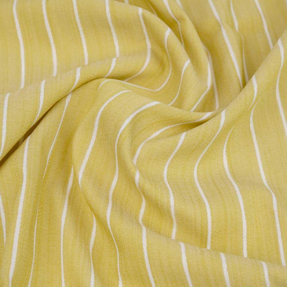 Tissu viscose sunshine tissé à motif rayures blanches et fil lurex argenté | pretty mercerie | mercerie en ligne
