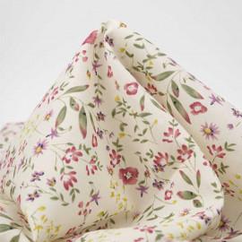 Tissu voile de coton écru à motif fleurs des champs rose, vert et jaune | pretty mercerie | mercerie en ligne
