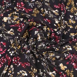 Tissu viscose noir à motif fleurs séchées marigold et framboise   pretty mercerie   mercerie en ligne