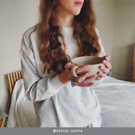 Tissu viscose pilou-pilou gris clair chiné   Pretty Mercerie   mercerie en ligne