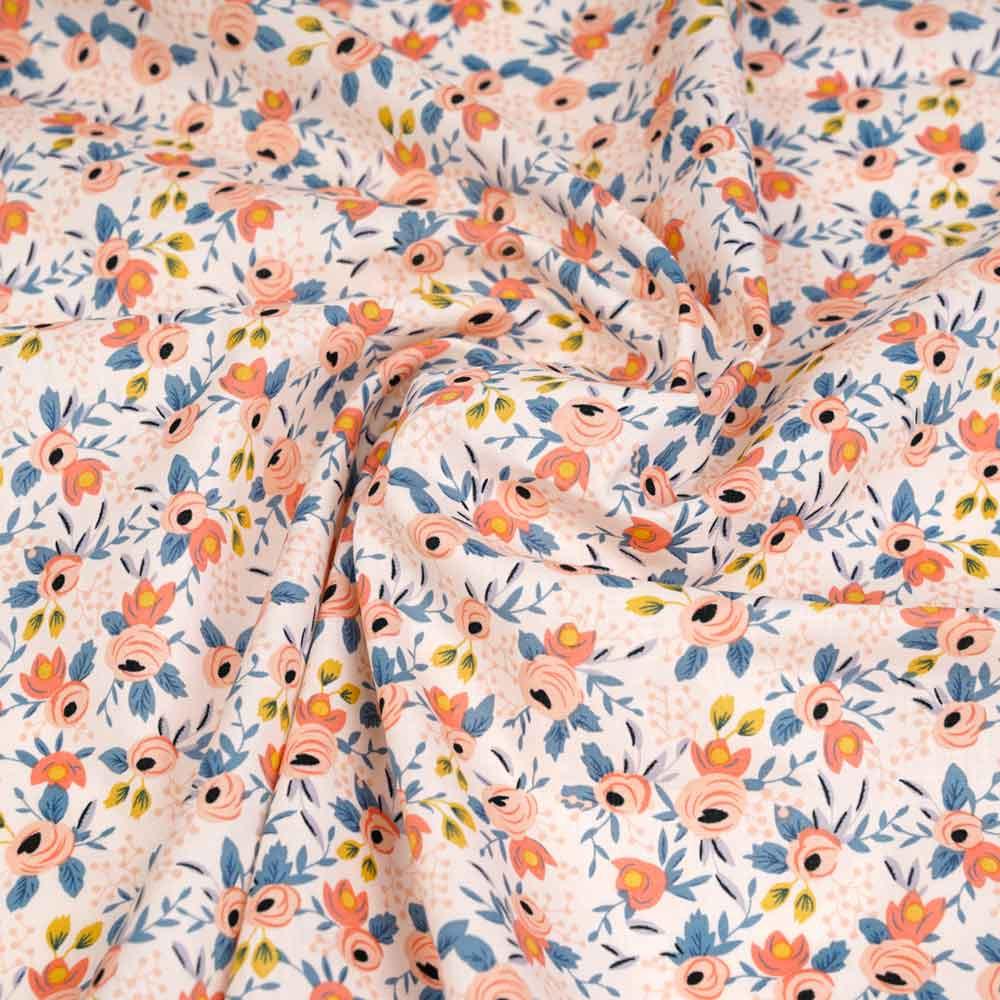 Tissu coton blush à motif botanique pêche, moutarde et bleu   pretty Mercerie   mercerie en ligne