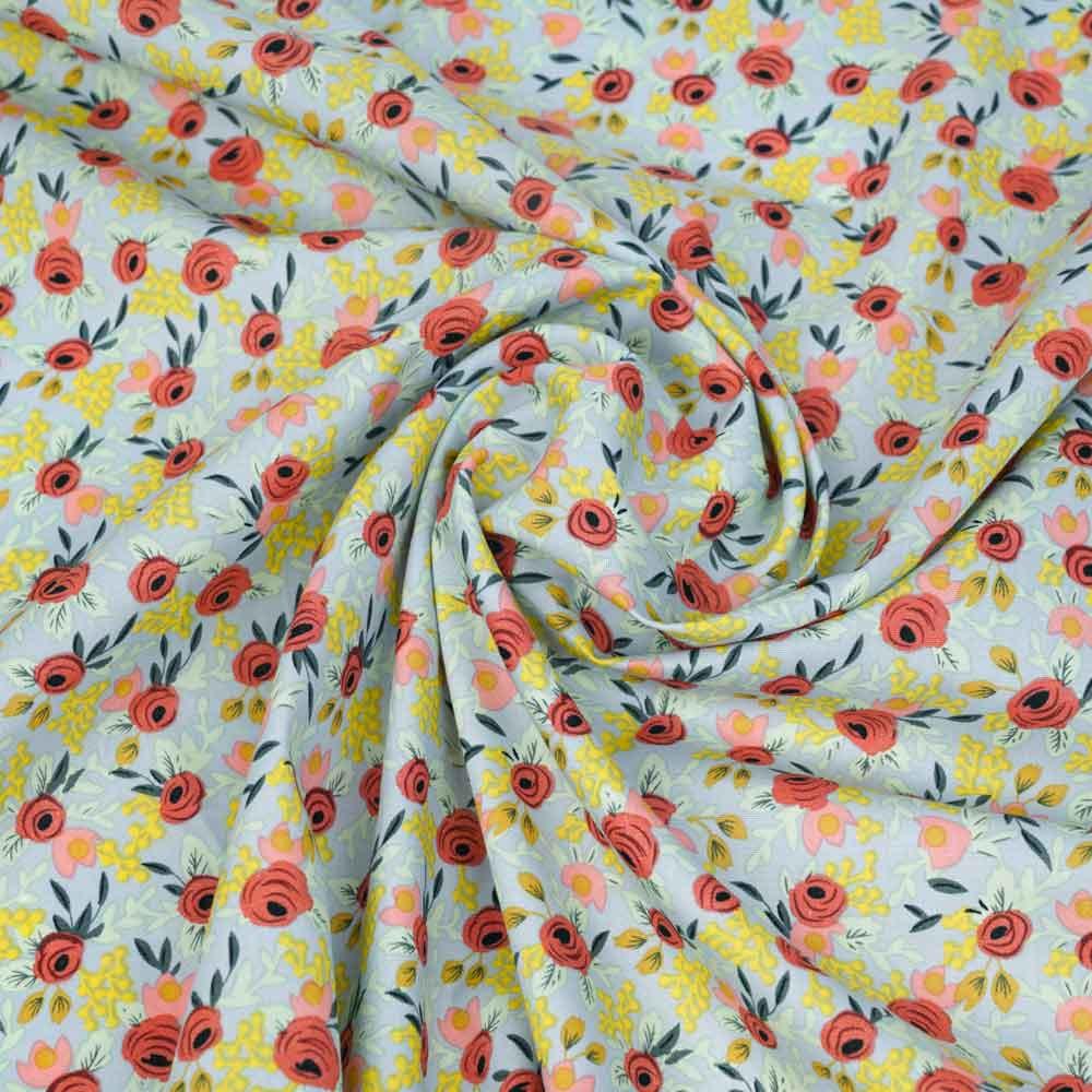 Tissu coton bleu perle à motif botanique rose, mimosa et cranberry | pretty Mercerie | mercerie en ligne