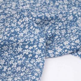 Tissu viscose riviera à motif jardin printanier blanc cassé | pretty mercerie | mercerie en ligne