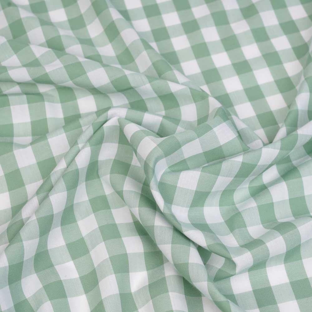 Tissu poly-viscose bambou blanc à motif tissé vichy caméo   Pretty Mercerie   mercerie en ligne