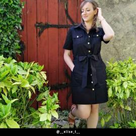Tissu denim chino noir - pretty mercerie - mercerie en ligne