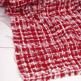 Tissu tweed rouge tango, blanc et fil lurex transparent | Pretty Mercerie | Mercerie en ligne