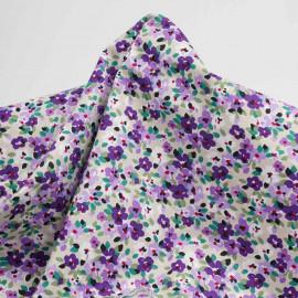 Tissu coton birch à motif petites fleurs violettes| Pretty mercerie | mercerie en ligne