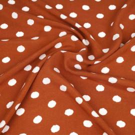 Tissu viscose rust à motif pois irrégulier blanc | pretty mercerie | mercerie en ligne