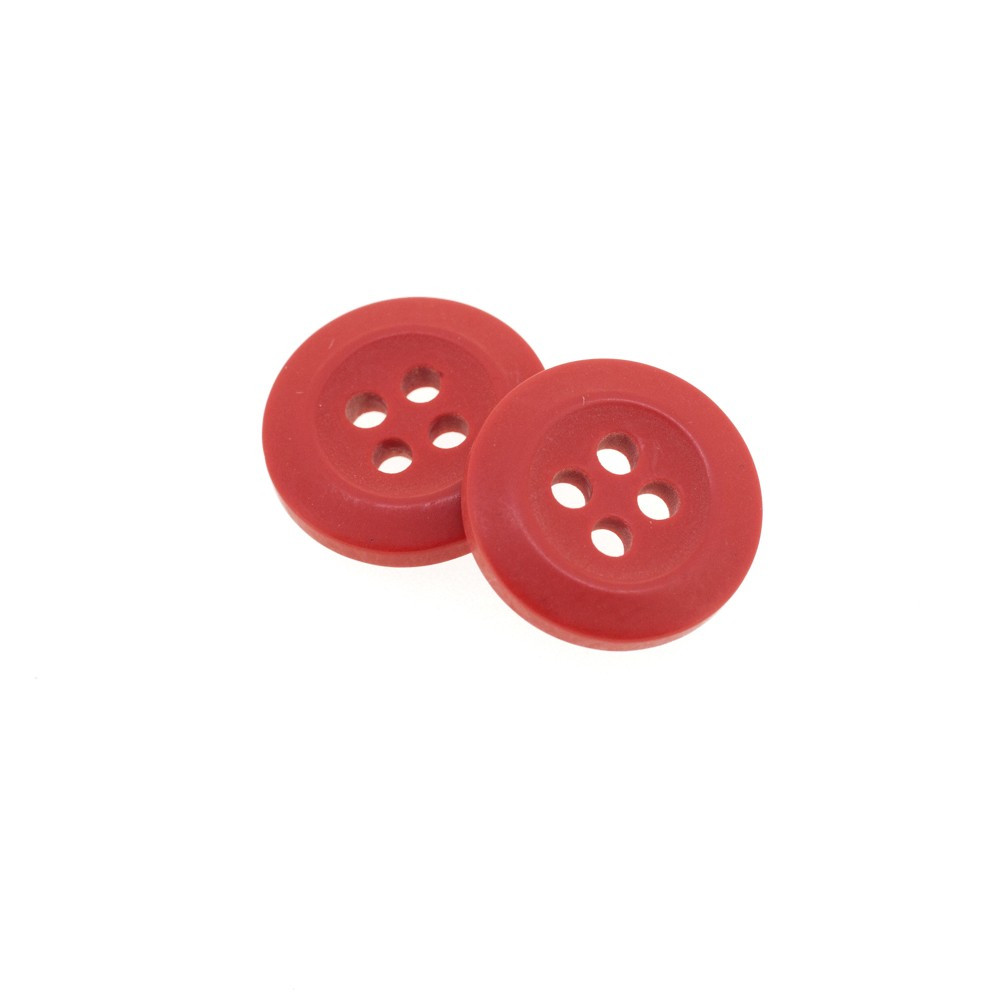 Bouton Polyester Rouge Groseille 15mm