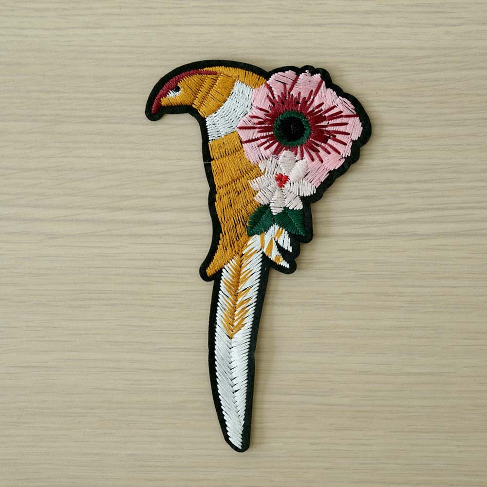 achat Badge brodé oiseau et fleurs  - pretty mercerie - mercerie en ligne