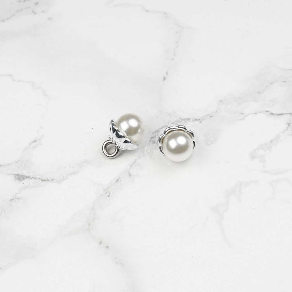 Bouton imitation perle ronde nacré 8 mm - mercerie en ligne - pretty mercerie