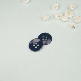 Bouton métal rond 4 trous bleu 18 mm - mercerie en ligne - pretty mercerie