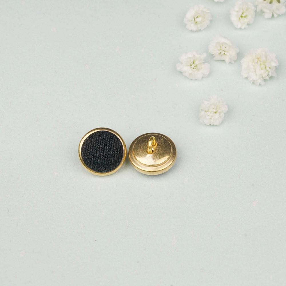 Bouton métal recouvert doré et noir 15 mm - mercerie en ligne - pretty mercerie